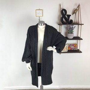 Topshop Dark Gray Chunky Knit Open Cardigan